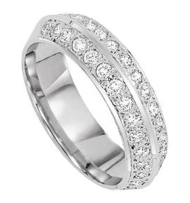 customized ring with 2 rows of diamonds